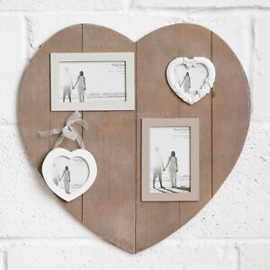 Heart Shaped 45cm Wall Hanging Multi Photo Frame 6x4 3x3 Picture Collage Wood