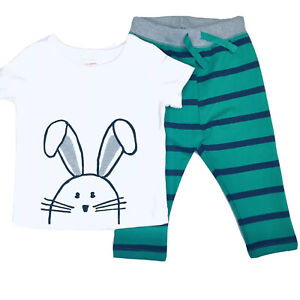 Hanna Andersson Baby White Green SS Knit Bunny T Shirt Pants Set Sz 18-24 M NEW