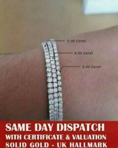 3 carat Round Brilliant Cut Diamond Tennis Bracelet Uk Hallmark White Gold