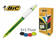 Bic 4 Colours Fluo Retractable Ballpoint Pen - Pack of 12 - FREE P&P