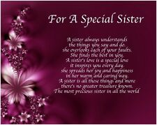 Personalised For A Special Sister Poem Birthday Christmas Gift Present