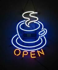 """Coffee Cafe Hot Tea Open Neon Lamp Sign 17""""x14"""" Bar Light Glass Artwork"""