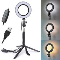 LED Ring Light Dimmable USB 5500K Fill Lamp Photography Phone Video Live BR