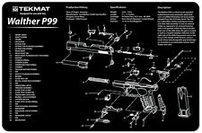 GUN CLEANING GUNSMITH BENCH AIRSOFT REPAIR MAT by TEKMAT for WALTHER P99 PISTOL
