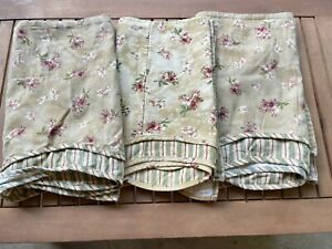 3 Waverly Tan Floral Stripe Curtain Valence Window Panel Garden Cottage Shaby