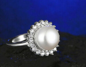 Natural White AKoya Cultured Pearl Sunflower Ring Adjustable Size :6 7 8 9