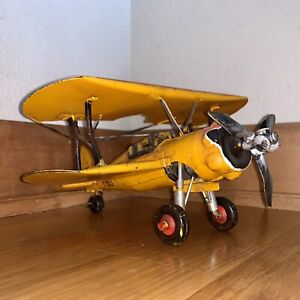"Vintage F803 Bi-Wing WWI Single Engine Fighter Plane Airplane Replica 9x9x5"""