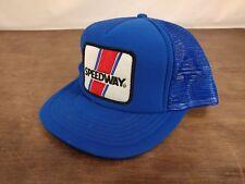 Vintage Speedway Royal Blue Patch Classic Hat Snapback Speedway Trucker Mesh Cap