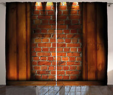 Rustic Wall Decor Curtains Brickwork Window Drapes 2 Panel Set 108x84 Inches