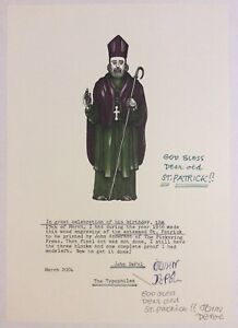 Rare John DePol color wood engraving of St. Patrick, signed, dated, annotated