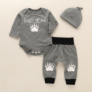 Newborn Baby Paw Romper Tops Pants Hat 3PCS Set Holiday Playsuit Outfit Clothes