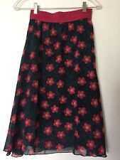 lularoe Lola Skirt Black With Magenta Flowers And Turquoise Leaves