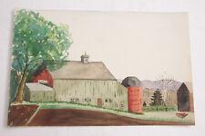 Farm Scene Silo New England Barn Implement Watercolor - Hopkins - VINTAGE A01A