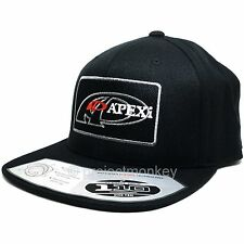 APEXi 601-H4SB Icon Logo Patch Flat Bill Adjustable Hat Cap Black / Silver / Red