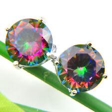Big Promotion 3Prs 1 Lot Rainbow Round Mystic Topaz Gem 925 Silver Stud Earrings