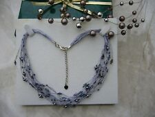 Mini real black pearls beads link necklace