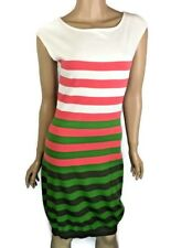 Milly New Sleeveless Knit Sheath Dress Sz S White Pink Green Stripe Sleeveless