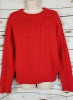 J Crew Red Sweater Pom Pom Pullover NEW XL Lambs Wool Blend