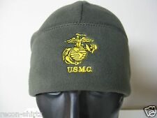 USMC EMBROIDERED POLAR FLEECE WATCH CAP BEANIE/ OLIVE COLOR/ GOLD EMB/  MILITARY