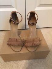 Joie Suede Heels Shoes Sandals Brown Beige Leather Hide 37.5  71/2