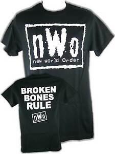 nWo Broken Bones Rule New World Order White Logo Mens T-shirt