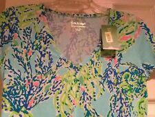 Lilly Pulitzer Michelle top blue haven coral fish ocean shirt Small New