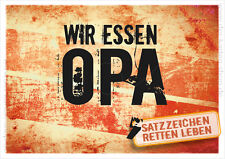 "A6 Postkarte Spruchkarte lustige Sprüche Karte ""Wir essen Opa!"" im Retro Stil"