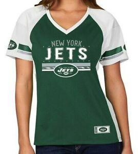 New York Jets Majestic Women's Draft Me Fashion T-Shirt - Green/White NWT