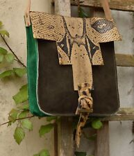 100% Leather Real Boa snake and Leopard skin BagEthnic Peruvian Handcrafted