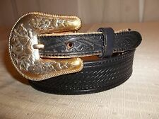 TONY LAMA Western COWGIRL Rodeo GOLD Roses BUCKLE BELT Women's Size 30