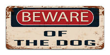 Beware Of The Dog   Vintage Metal Garden Warning Sign