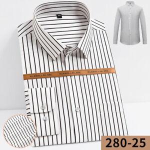New Mens Dress Shirts Formal Slim Fit Long Sleeves Striped Casual Shirts Tops