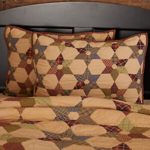 VHC Brands Primitive Standard Sham Tan Patchwork Tea Star Cotton Bedroom Decor