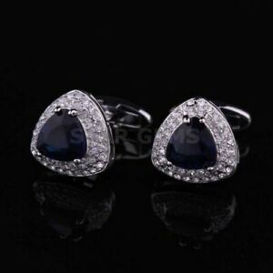 London Blue Topaz Gemstone In 925 Sterling Silver Cufflicks Men's Style Cufflick