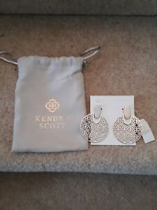 Kendra Scott Didi Drop Earrings 14ct gold plated in silver with bag