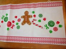 """GINGERBREAD MAN CANDY CANE GUMDROP CHRISTMAS TABLE RUNNER 36"""" X 13"""" RED WHITE"""