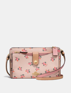 NEW Coach F28418 Pop-Up Messenger Clutch Bag with Beechwood Floral Bloom Print