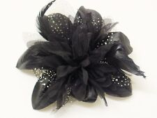 Gorgeous Hair Flower Wedding Flower Fascinator On Comb Flower Size 12 cm Black