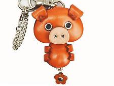 Pig Handmade 3D Leather Animal Keychain Bag Charm *VANCA* Made in Japan #26004