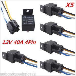 5x Universal Auto Car Truck 12V 40A SPST Premium Relay & Socket 4 Pin 4P 4 Wire