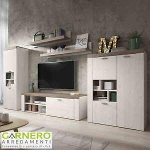 Parete attrezzata PALOMA bianco rovere scuro mobile soggiorno moderno design