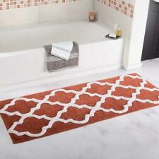 Lavish Home 100% Cotton Trellis Bathroom Mat - 24x60 inches - Brick