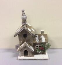 30cm Wooden Church Brown LED Lit Batt-Op Christmas Decoration