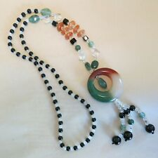 Large Glass Pendant 32-inch [4463] Glass Beaded Necklace with a