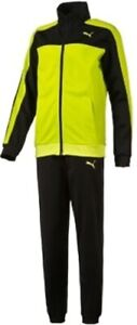 Puma Tricot Junior Tracksuit Yellow Black Kids Stylish Track Suit Ages 11-15