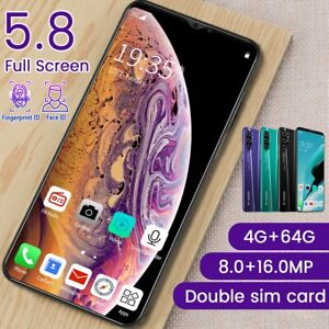 """5.8"""" LTE 3G Unlocked Android 9.1 2SIM Mobile Smart Phone Phablet 4+64GB 8MP+16MP"""