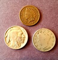 US Coins Starter Collection Lot of 3 Rare Indian Head Buffalo Nickel. No cull