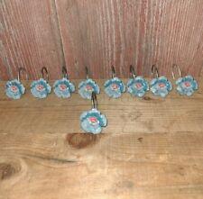 Blue Resin Flower Shower Curtain Hooks Rings  ~ Set of 9