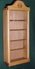 WALL CURIO CABINET SHADOW BOX DISPLAY CASE COLLECTIBLES SHELF LIGHT OAK FINISH