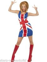 Ladies 90s Posh Ginger Baby Scary Sporty Spice Girls Fancy Dress Costume Outfit